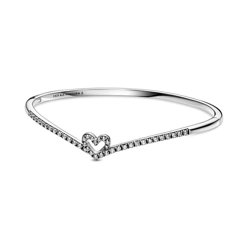 """Pandora Sparkling Wishbone Heart Bangle, 7.5"""" (Large)"""