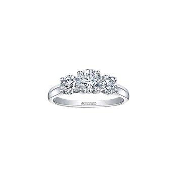 14K 3 Stone Engagement Ring, 1.02 TDW