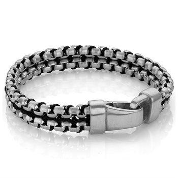 Double Row Round Box Link Nylon-Cord Bracelet