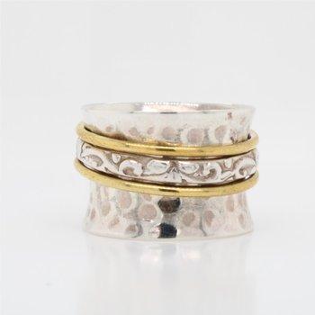 Sterling Silver & Brass Spinner Ring