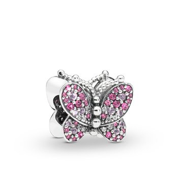 Pink Pave Butterfly Charm