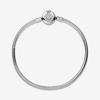 "Moments Sparkling Crown O Snake Chain Bracelet, 7.9"""