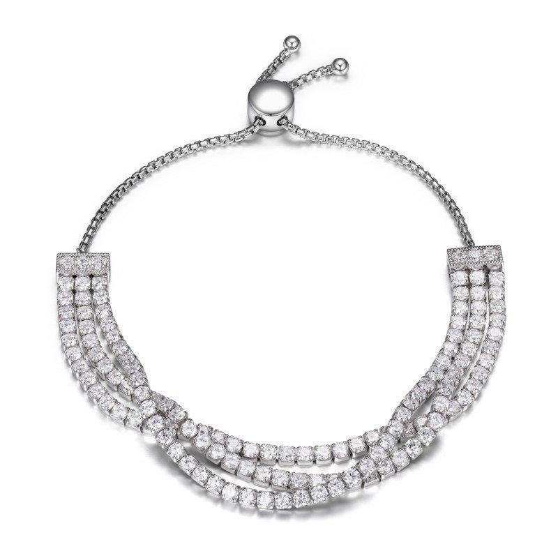 Reign Sterling Silver 3 Strand Tennis Bracelet