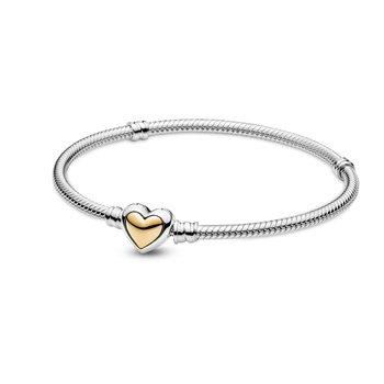 """Moments Domed Golden Heart Clasp Snake Chain Bracelet, 7.9"""""""