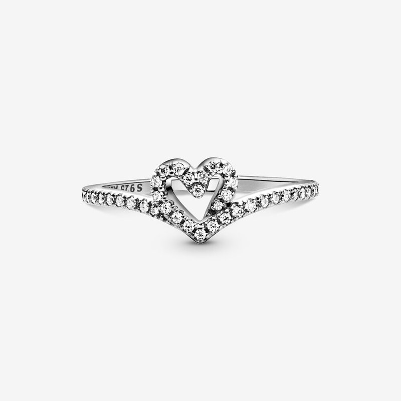 Pandora Sparkling Wishbone Heart Ring, size 7.0