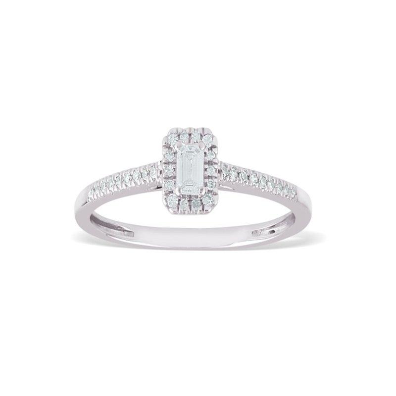 Paragems 14K Emerald Cut Diamond Engagement Ring, 0.20 TDW