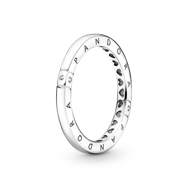 Pandora Logo & Hearts Ring, size 5.0