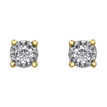 10k Yellow Gold Diamond Stud Earrings 0.03cttw