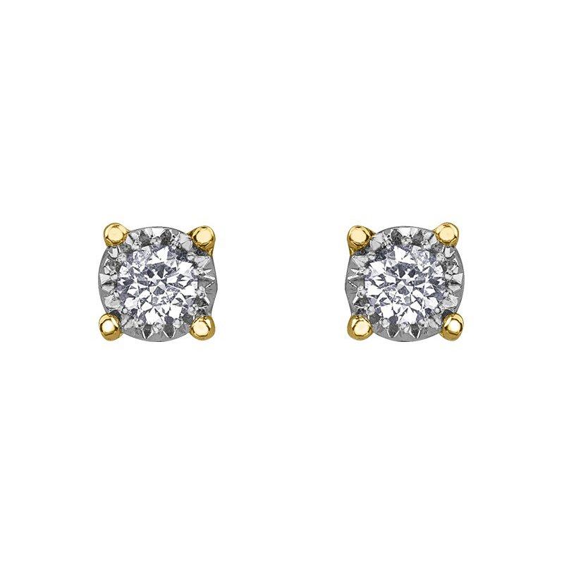 Diamond Days 10k Yellow Gold Diamond Stud Earrings 0.03cttw