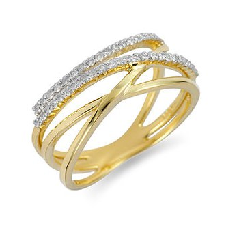 14k Diamond Criss-Cross Ring
