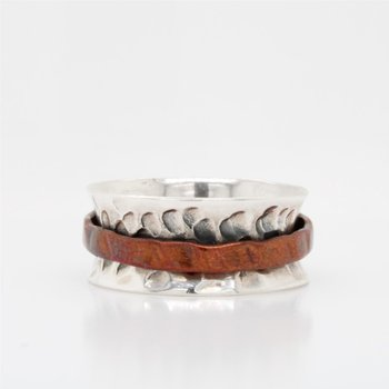 Sterling Silver & Copper Spinner Ring
