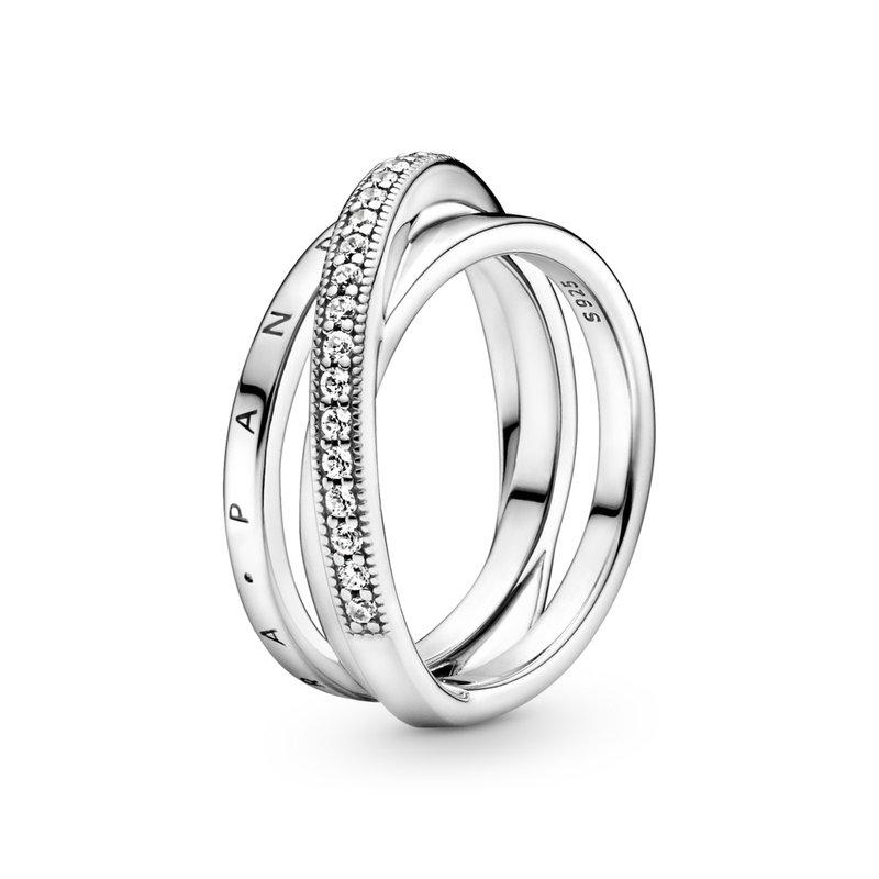 Pandora Crossover Pavé Triple Band Ring, size 6.0