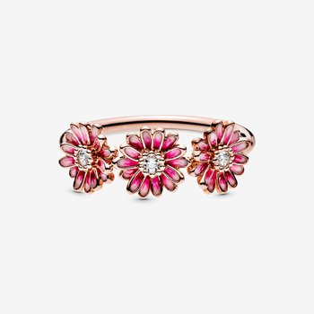 Pink Daisy Flower Trio Ring, size 7.5