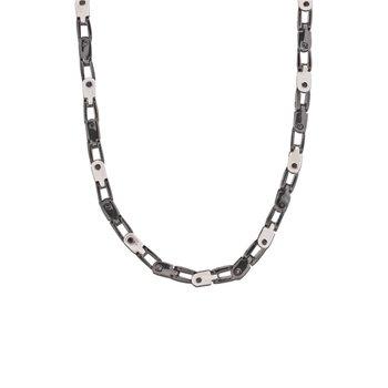 "Black & White Screw Link Chain 24"""