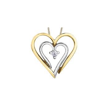 10k 2 Tone Heart Pendant
