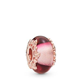 Pink Murano Glass & Leaves