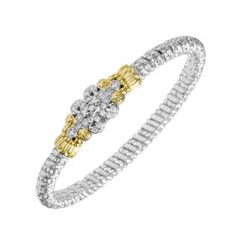 14K Gold, Silver & Diamond Bracelet
