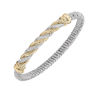 14K Gold, Silver & Diamond Bracelet