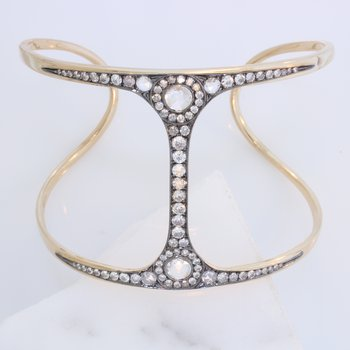 Fancy Rose Cut Diamond Cuff Bracelet.