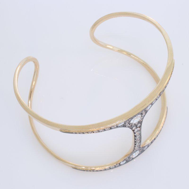 Norman Covan Fancy Rose Cut Diamond Cuff Bracelet.