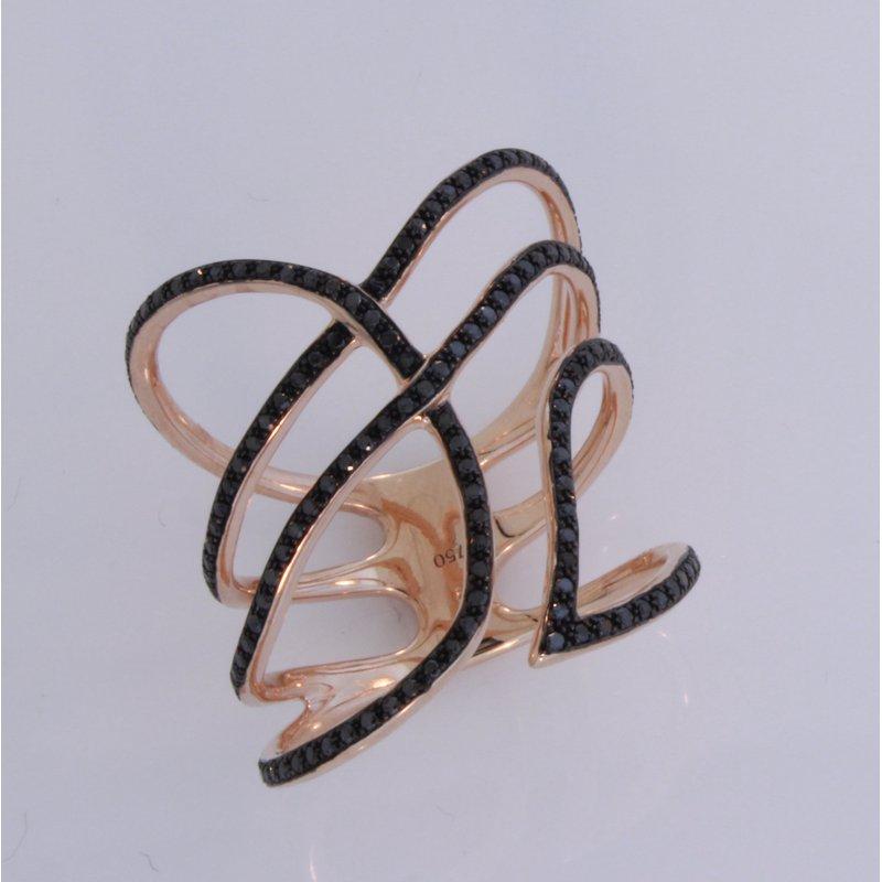Etho Maria Rose Gold Black Diamond Thinline Ring