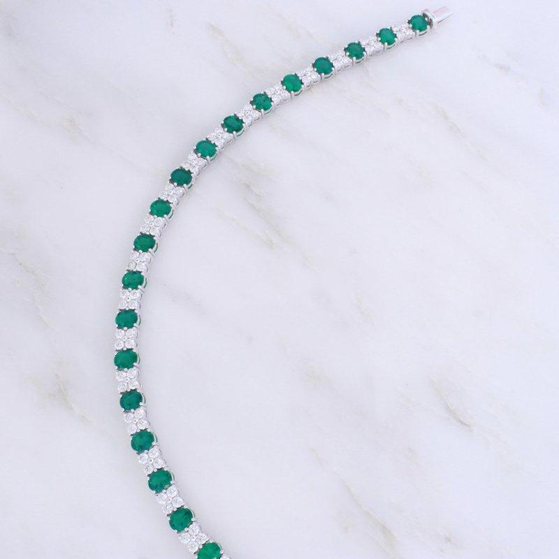 Spark Creations Emerald and Diamond Line Bracelet