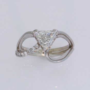 Flowing Trillion Cut Engagement Ring