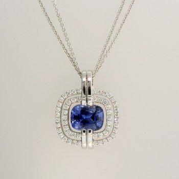 Cushion Blue Sapphire Pendant