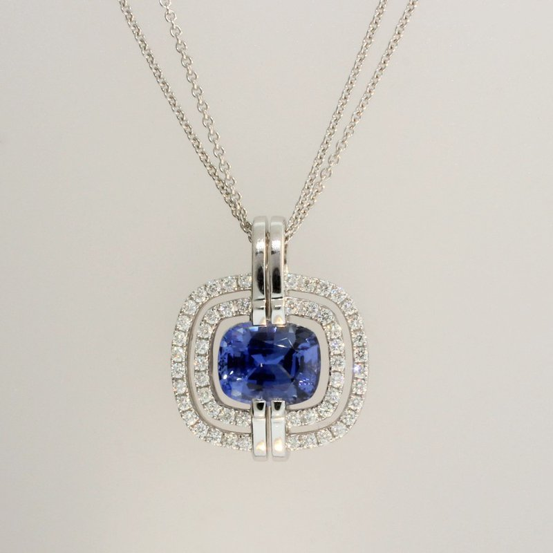 Frederic Sage Cushion Blue Sapphire Pendant