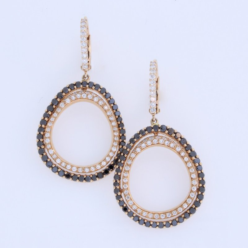 Etho Maria Rose Gold and Black diamond Dangle Earrings