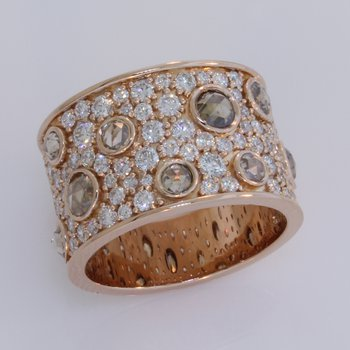 Rose & Brilliant Cut Diamond Wide Band