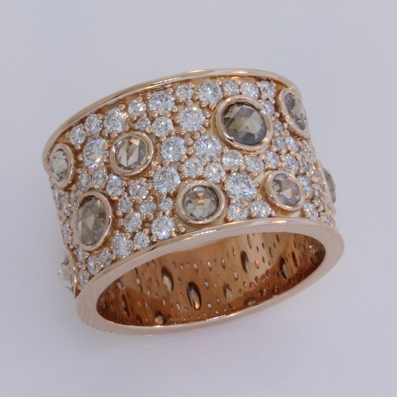 Norman Covan Rose & Brilliant Cut Diamond Wide Band