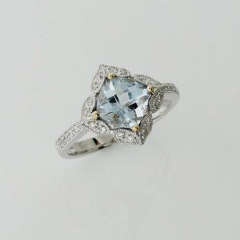 Aquamarine Cushion Cut Ring