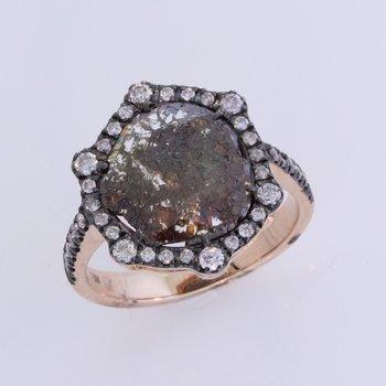 Dark Diamond Slice / White Halo Ring