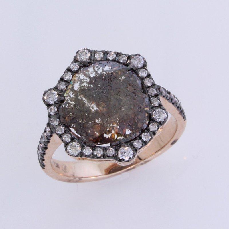 Dilamani Dark Diamond Slice / White Halo Ring