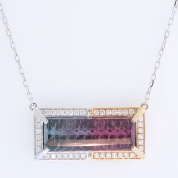 Bi-Color Tourmaline Pendant - Fantasy Cut