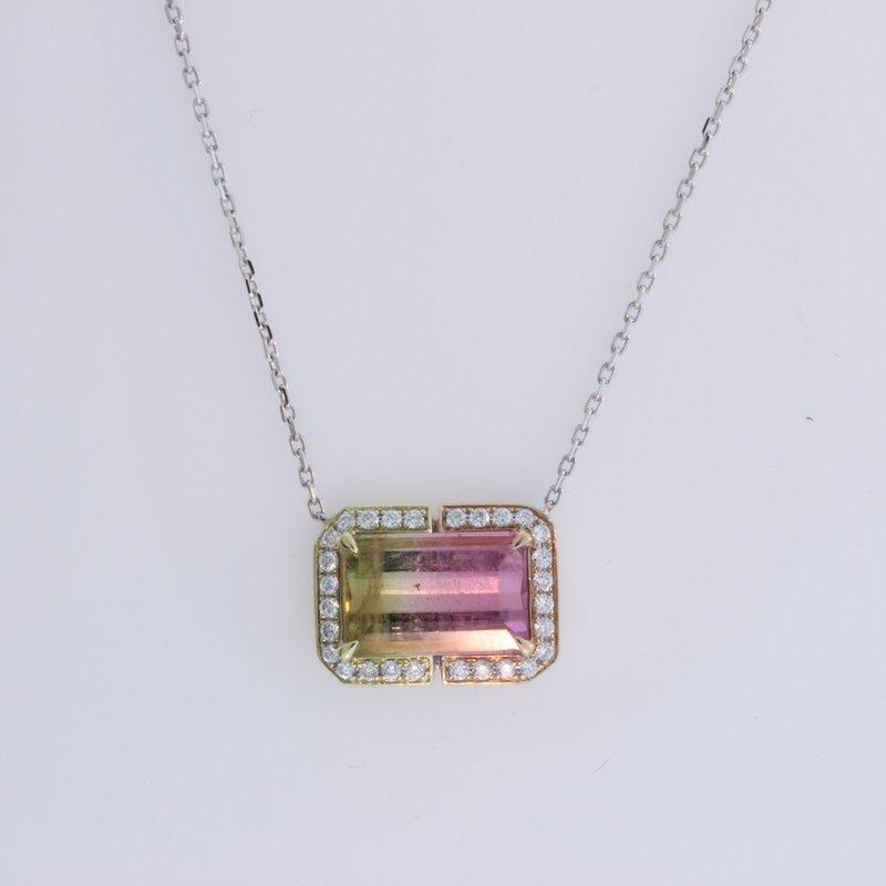 Frederic Sage One of a kind bi-color tourmaline pendant.