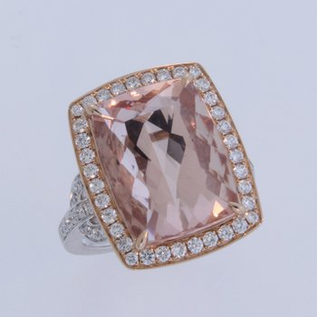 Morganite Ring in Rose and White Gold