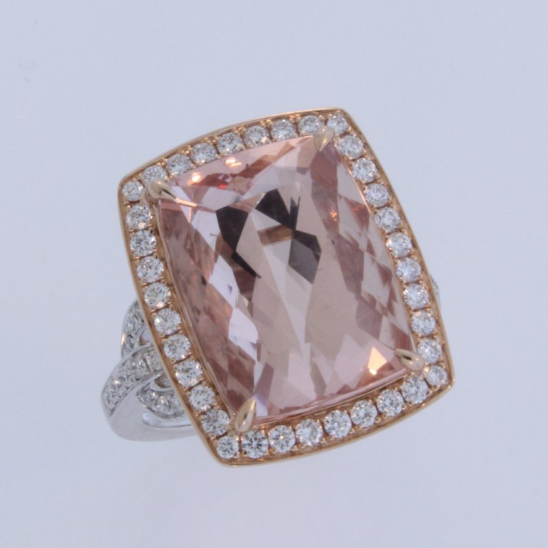 Frederic Sage Morganite Ring in Rose and White Gold