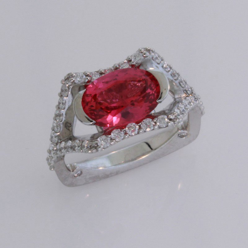 Payne Anthony Jewelers Custom Pink Spinel & Diamond Ring