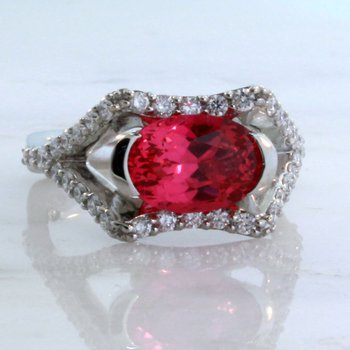 Custom Pink Spinel & Diamond Ring