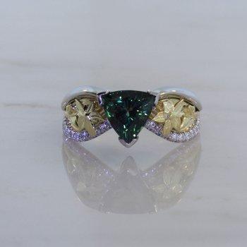 Custom Green Sapphire Two Tone Ring