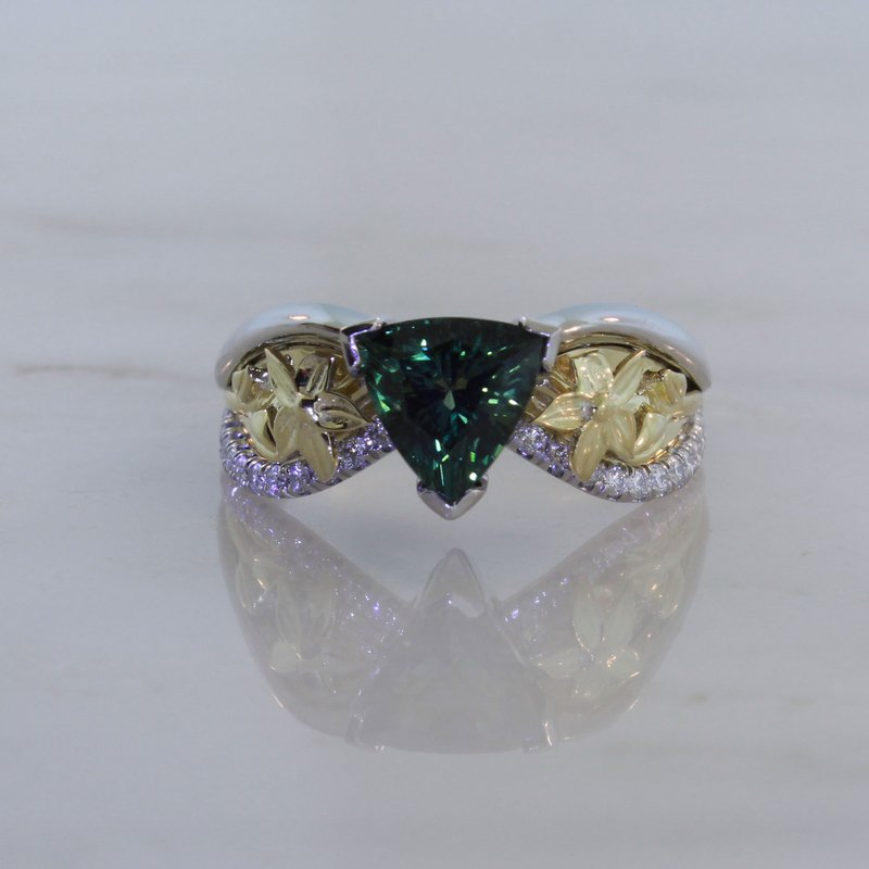 Payne Anthony Jewelers Custom Green Sapphire Two Tone Ring