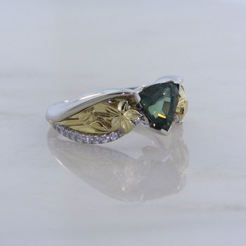 Custom Green Sapphire Two Tone Ring