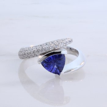 Custom Trillion Sapphire Bypass Ring