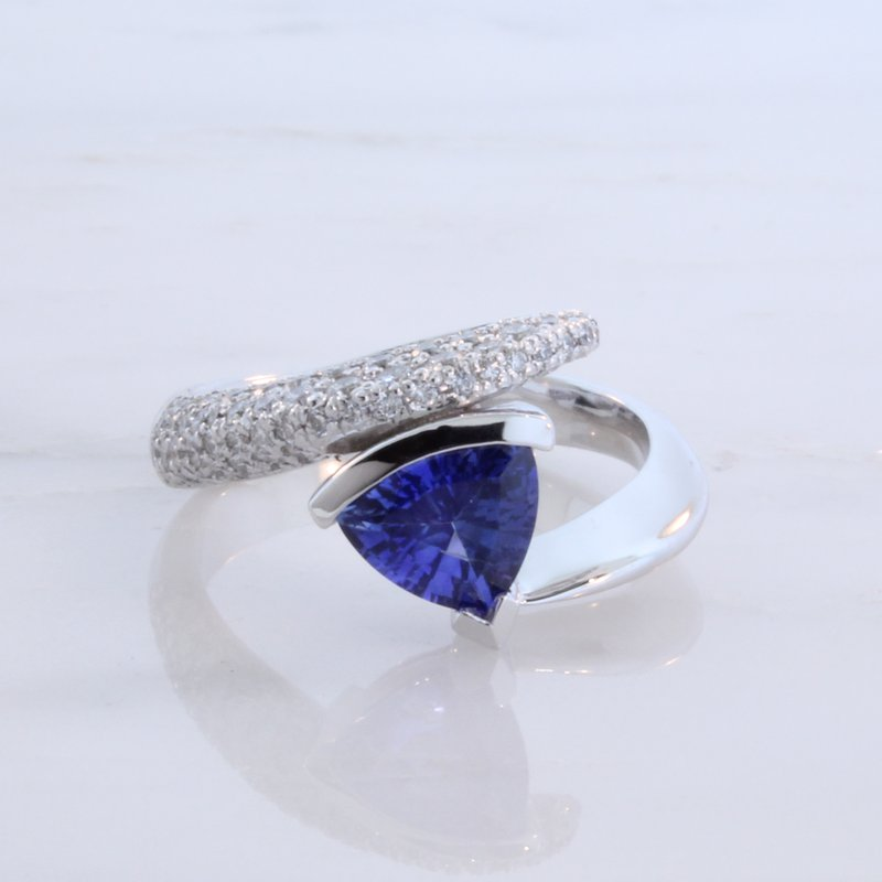 Payne Anthony Jewelers Custom Trillion Sapphire Bypass Ring