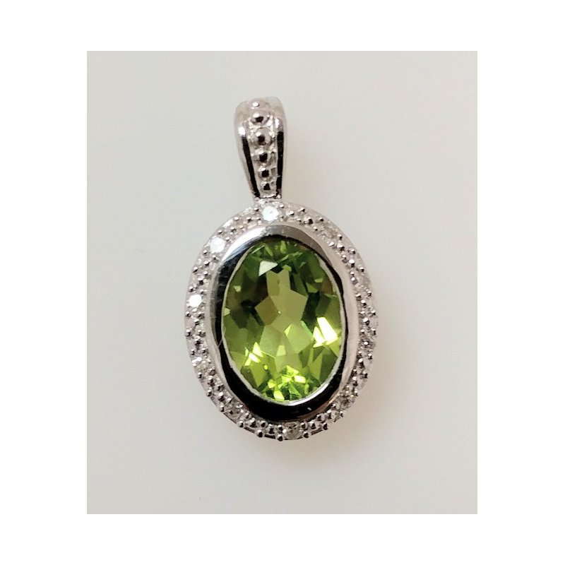 Showcase Collection Peridot Pendant with Diamond Halo