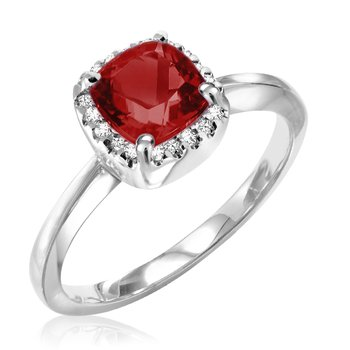 Garnet Ring with Diamond Halo