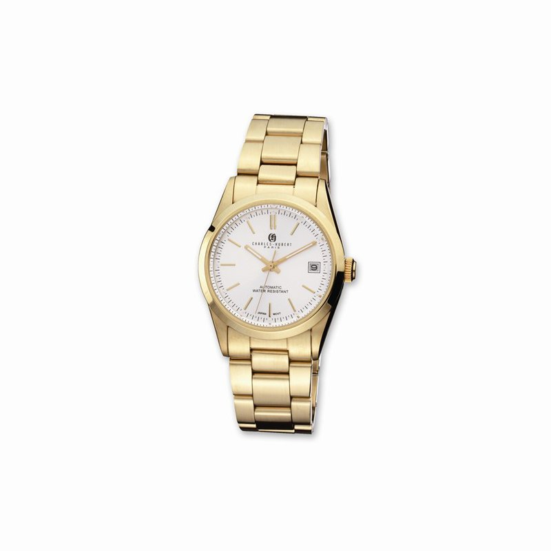 Charles Hubert IP Gold Plates Stainless steel white dial watch
