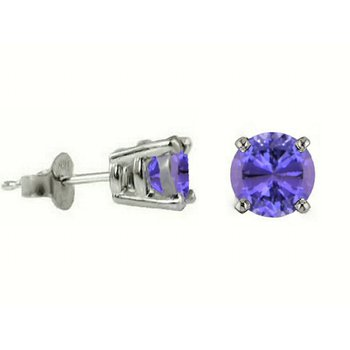 14K White Gold 5.50mm Round 4 Prong Tanzanite Earrings